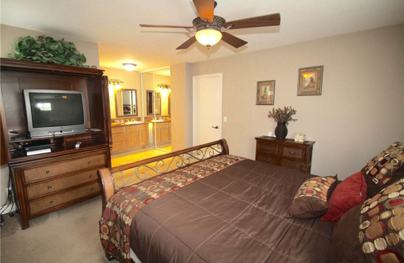 Rental bedroom at Vacation Rentals by McLain Properties.