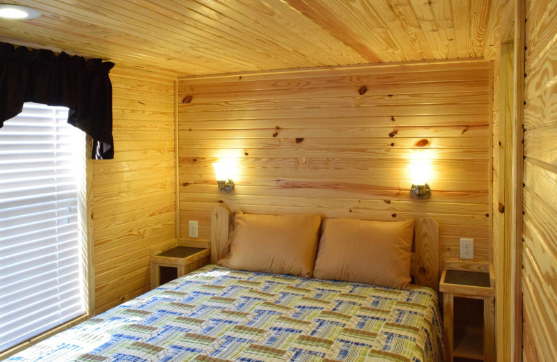 Cabin bedroom at Yogi Bear's Jellystone Park Quarryville.