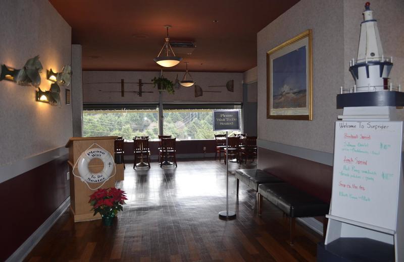 Restaurant interior at Surfrider Resort.