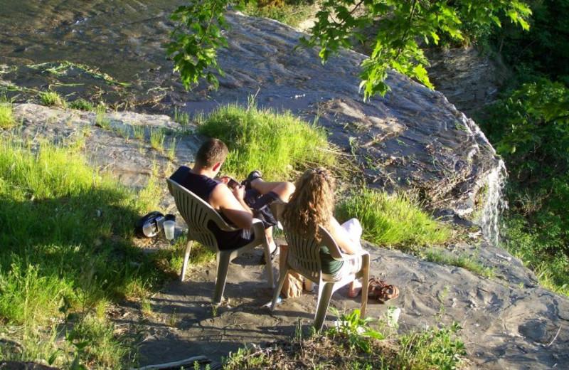 Waterfall Seating Area at Finger Lakes Waterfall Resort