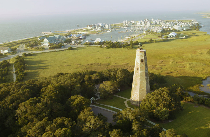 Aerial view of island at Bald Head Island Limited.