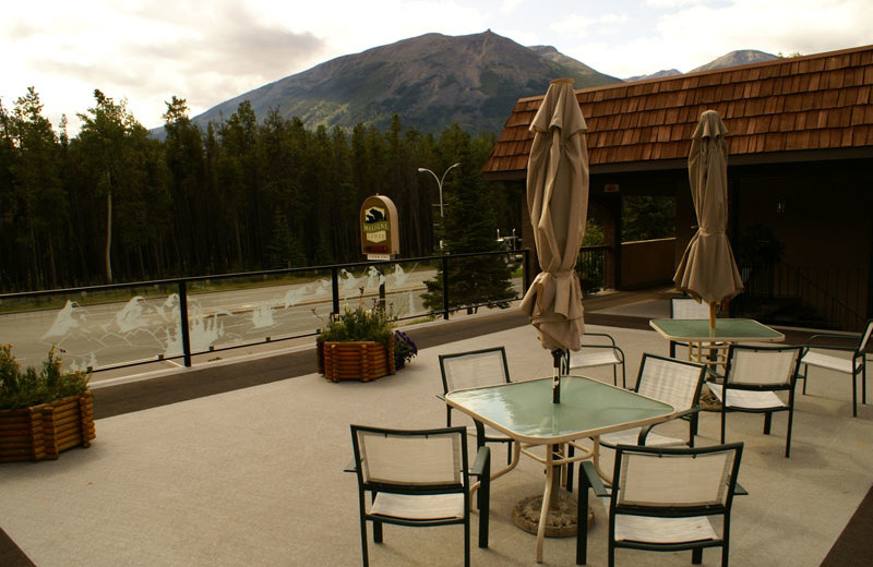 Patio at Maligne Lodge.