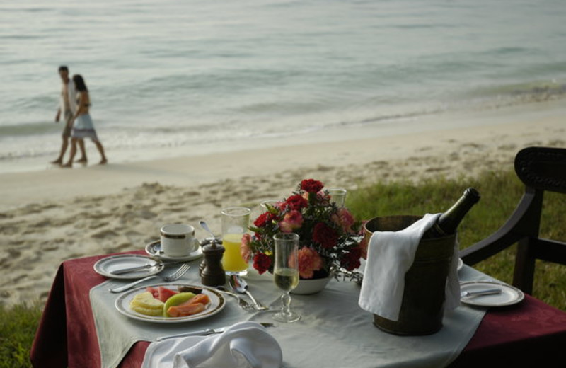 Dining on the beach at Mombasa Serena Beach Hotel.