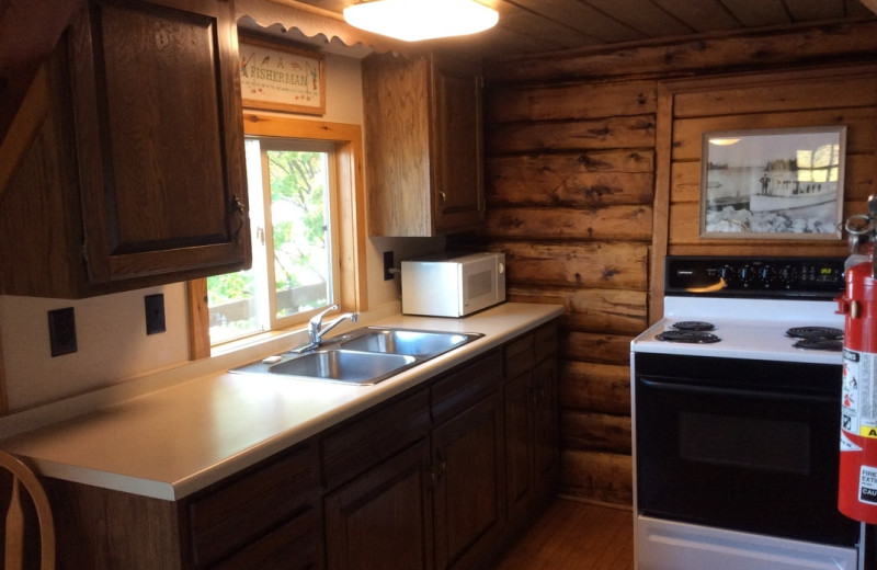 Cabin kitchen at Muskego Point Resort.