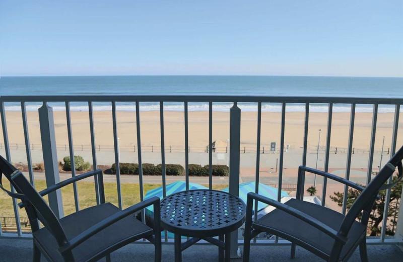 Balcony view at Surfbreak Oceanfront Hotel.