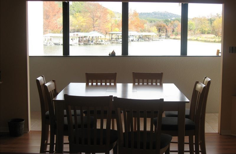 Dining room at Treehouse Hideaway on Lake LBJ.