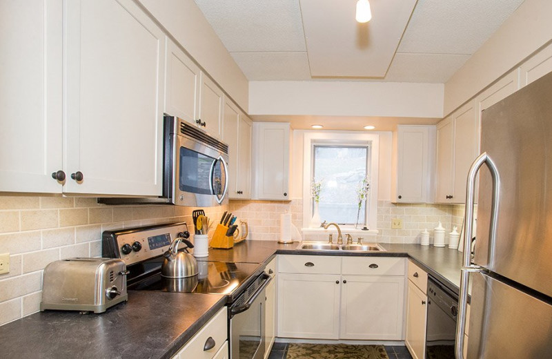 Rental kitchen at Stowe Vacation Rentals & Property.
