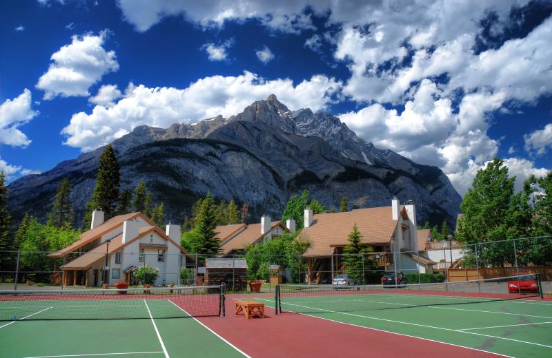 Tennis court at Banff Rocky Mountain Resort.