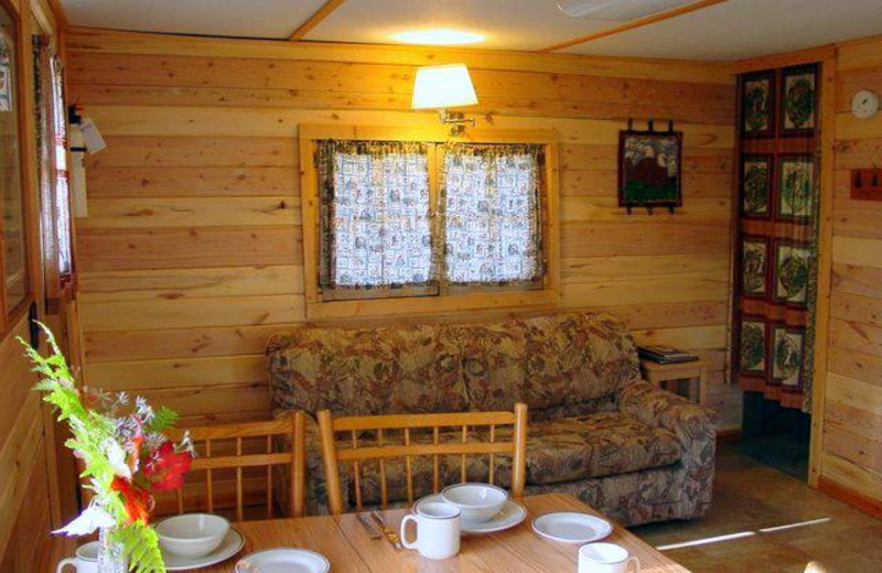 Cabin living room at Big Lake Wilderness Lodge.