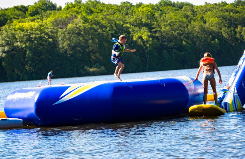 Water trampoline at Elmhirst's Resort.