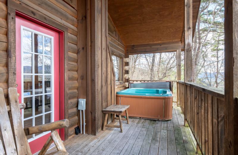 Rental porch at Natural Retreats Great Smoky Mountains.