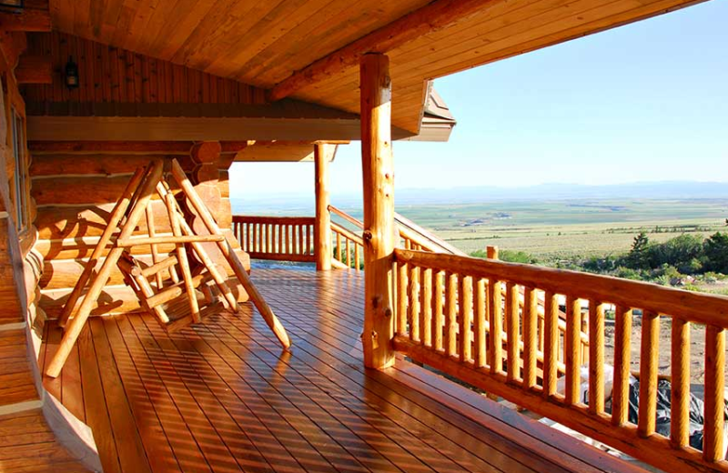 Deck view with swing at Rocky Mountain Elk Ranch.