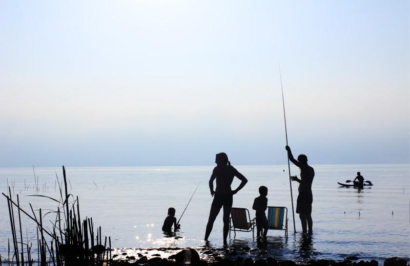 Family fishing at Dancing Bears Inn.