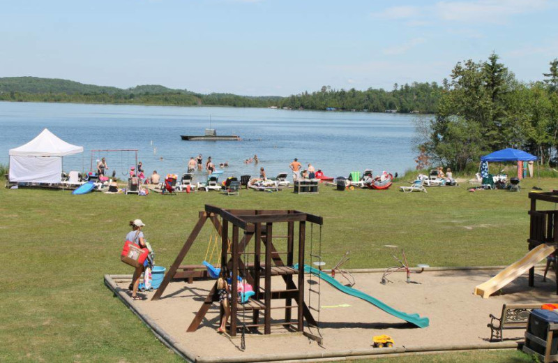 Children's playground at Thunder Lake Lodge.