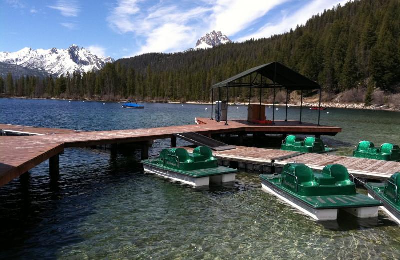 Paddle boats by the dock at Redfish Lake Lodge.