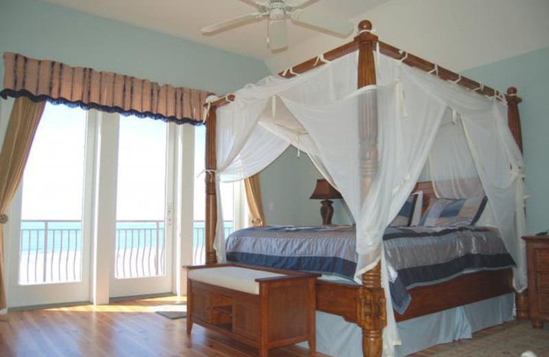 Rental bedroom at Sunset Properties.