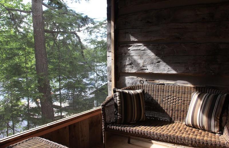 Cabin porch at Bartlett Lodge.