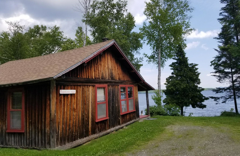 Cabin exterior at The Birches Resort.