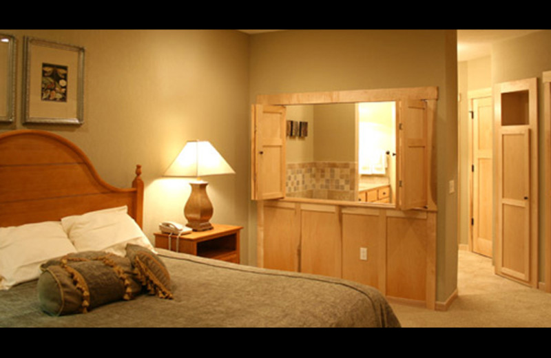 Vacation rental bedroom at Northernaire Resort.