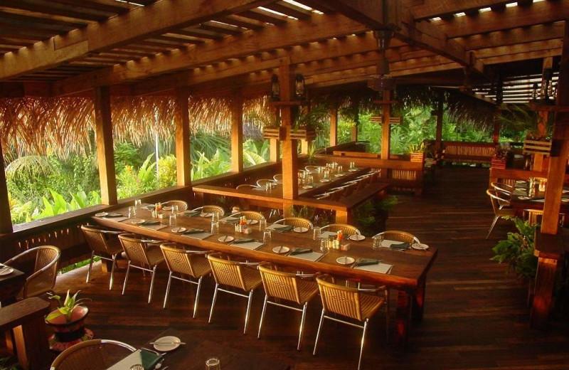 Dining at Lamanai Outpost Lodge.