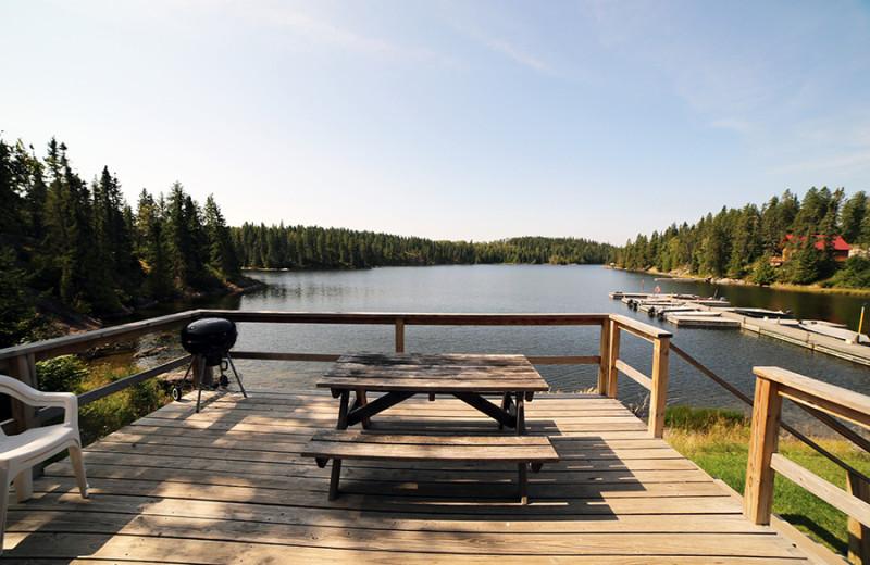 Cabin deck at Cliff Lake Resorts.