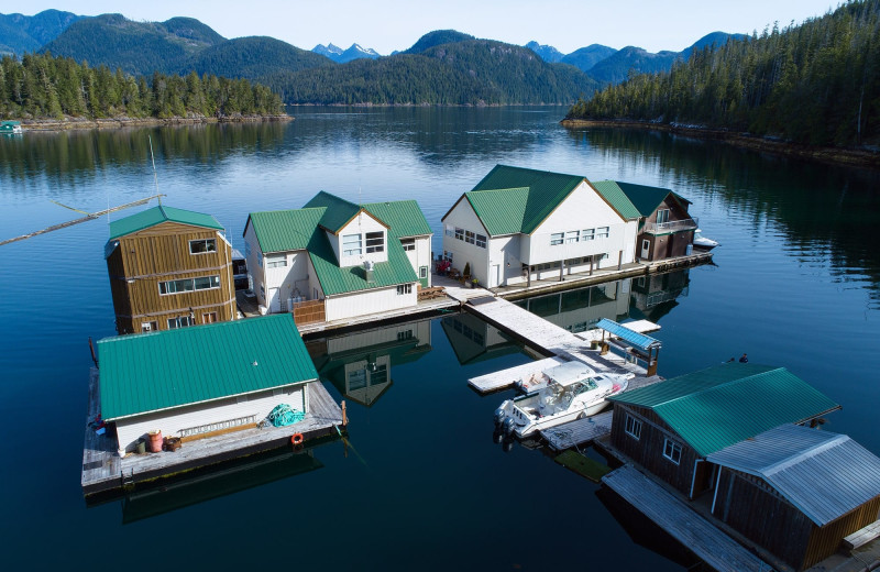 Aerial view of Nootka Wilderness Lodge.