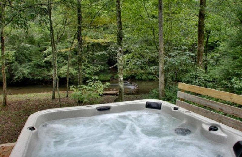 Cabin jacuzzi at Georgia Mountain Cabin Rentals.