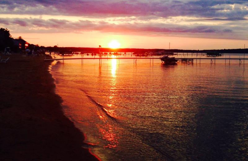Beach sunset at Lakeshore Resort TC.