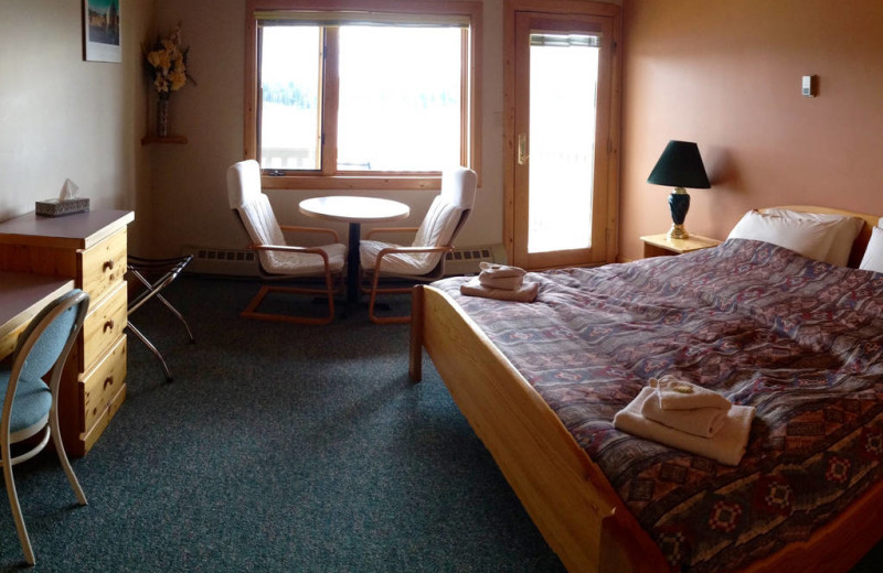 Guest room at Tyee Lake Lodge.