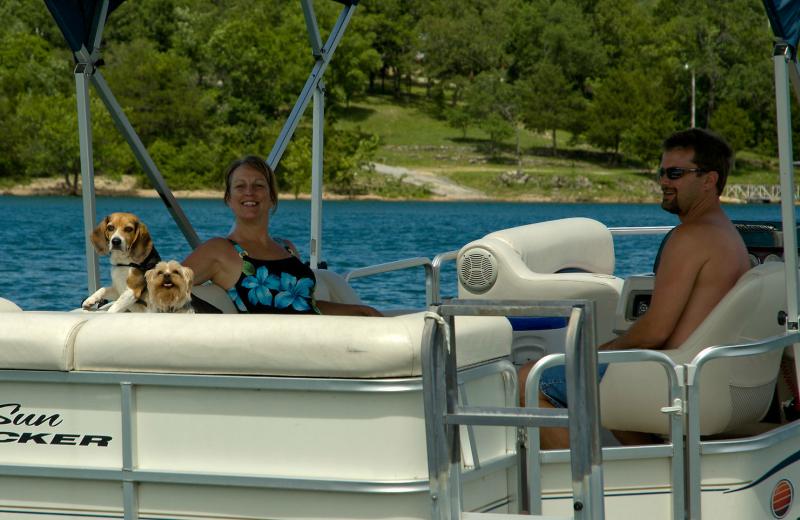 Family pontoon ride at Alpine Lodge Resort.