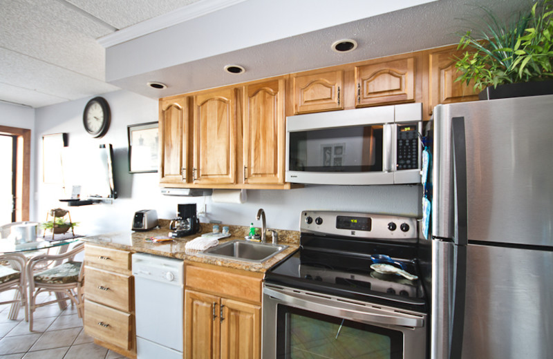 Suite kitchen at Beacher's Lodge Oceanfront Suites.