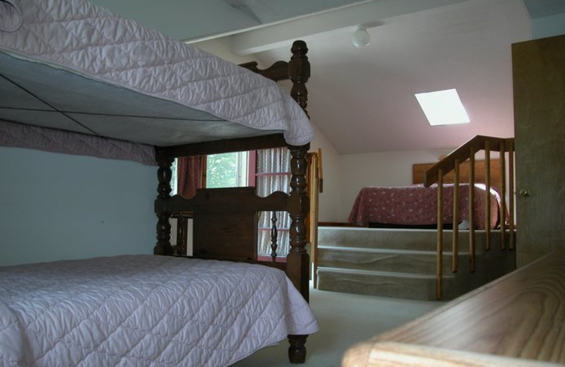 Guest bedroom at White Birch Lodge.