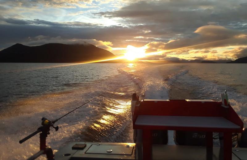 Boating at Screamin' Reels Lodge.