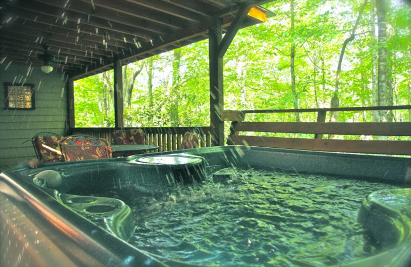 Cabin hot tub at Linville Cabins.