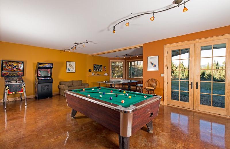 Vacation rental game room at Lake Placid Vacation Homes.