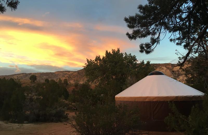 Sunset at Escalante Yurts.