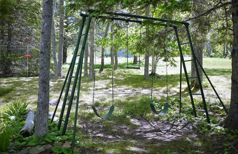 Rental swings at Acadia Cottage Rentals.