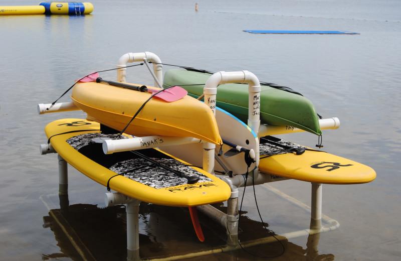 Water toys at Sandy Pines Resort.