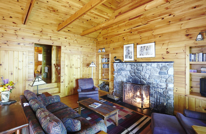 Cabin living room at Migis Lodge.