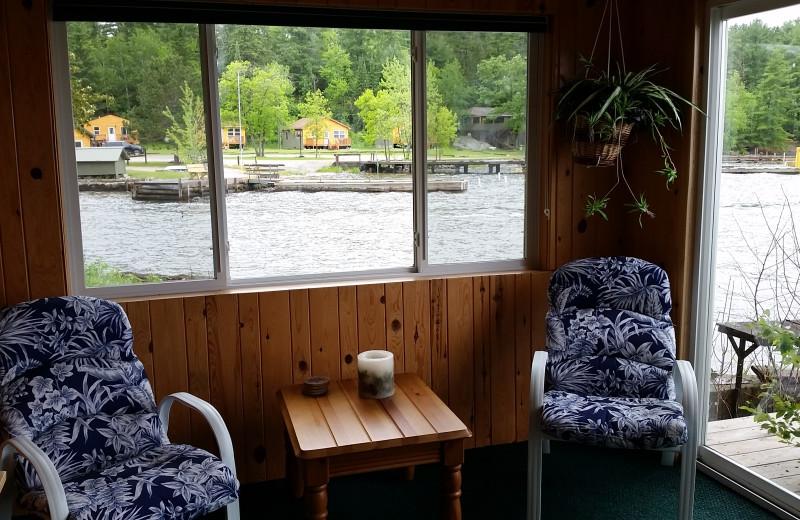 Cabin lake view at Voyageur's Sunrise Resort.