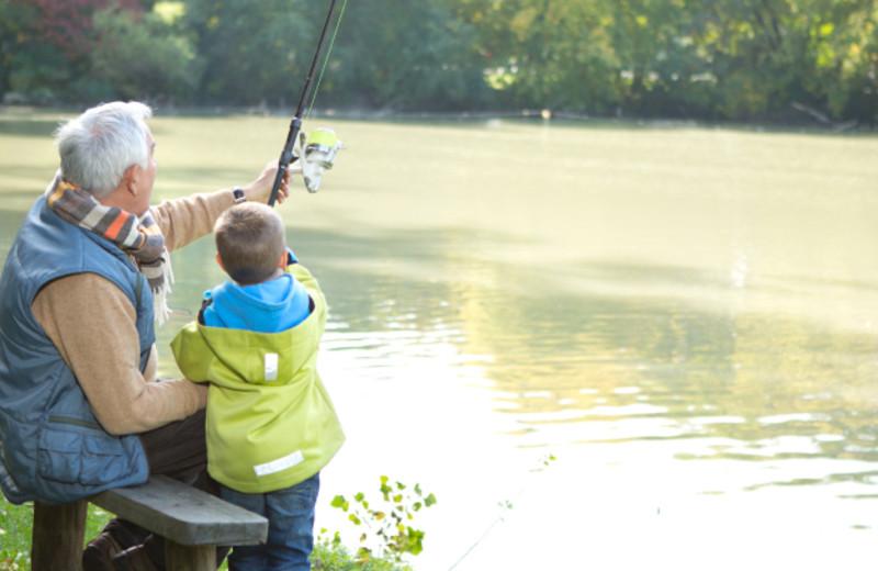 Family fishing at Long Lake Resort.