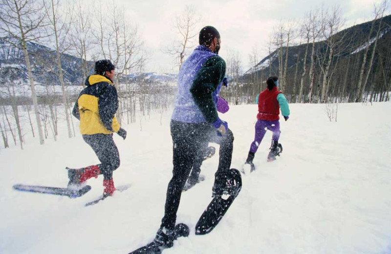 Snowshoeing at The Resort at Paws Up.