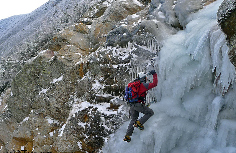 Ice climbing near Royalty Inn.