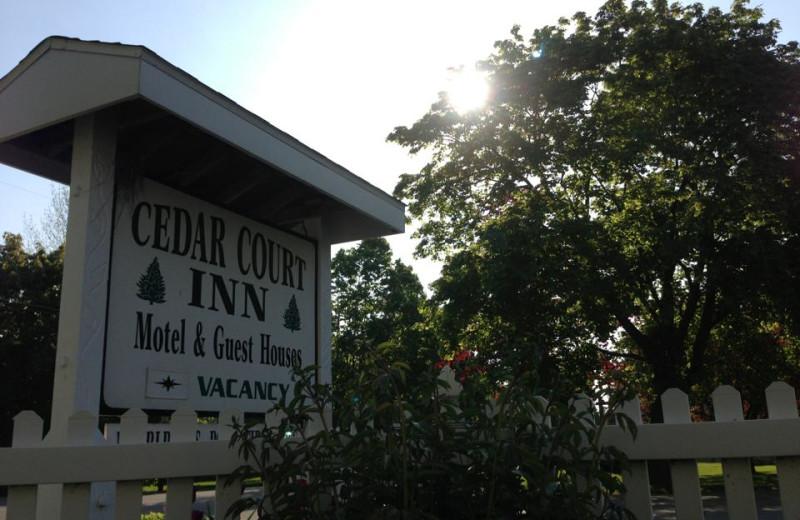 Cedar Court Inn sign.