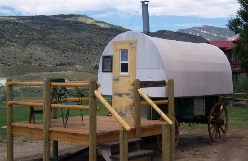 Covered wagon lodging at K3 Guest Ranch.