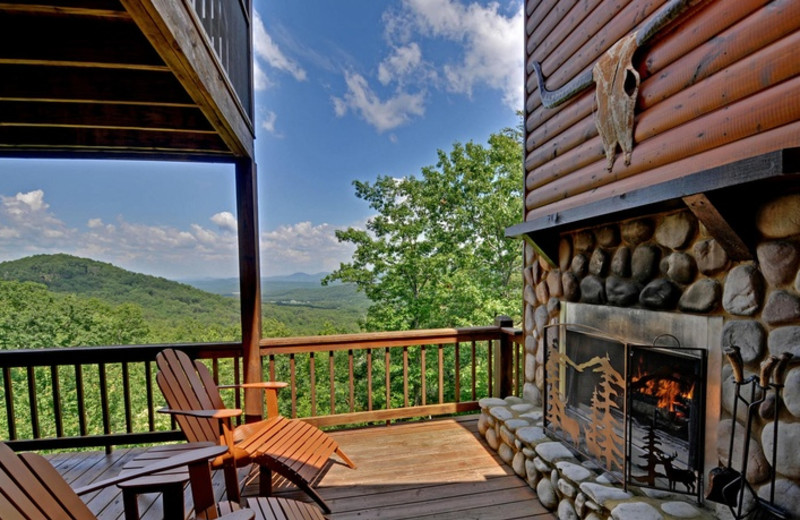 Cabin deck view from Mountain Top Cabin Rentals.