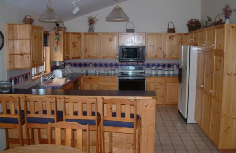 Vacation home kitchen at Three Rivers Resort.