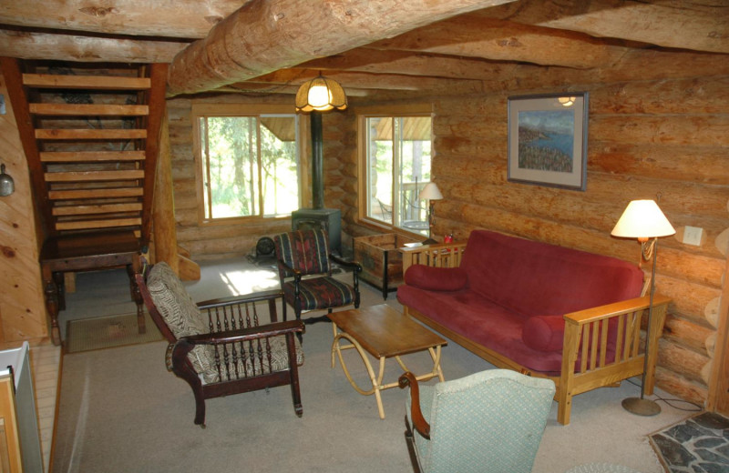 Cabin living room at Heston's Lodge.