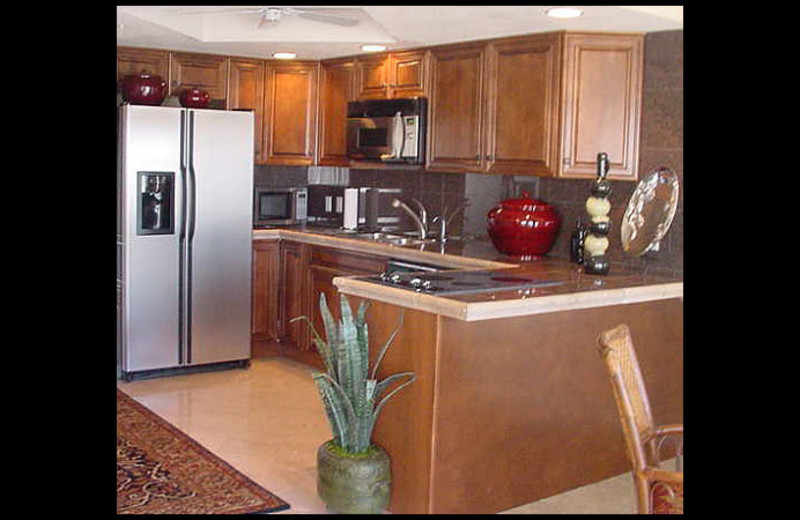 Rental kitchen at Queens Condos By Connie.