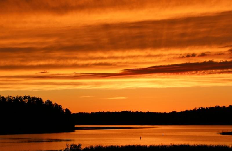 Sunset at The Pines of Kabetogama Resort.
